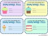 Cupcake and Birthday Homework Passes (Cute)
