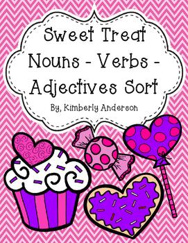 Sweet Treat - Valentine's Nouns / Verbs / Adjectives Sort