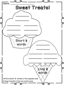 Sweet Treats - A Literacy Center Game for short e and long e