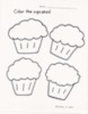 Sweet Treats Coloring Worksheets:  Birthday Cake and Cupcakes