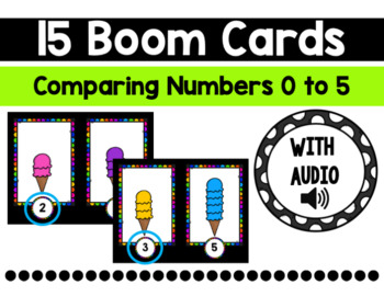 Sweet Treats Boom Cards:  Comparing Numbers 0 to 5 {Fewer}