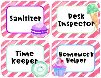 Sweet Treats Decor Editable Class Room Jobs