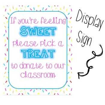 Sweet Treats! Donation Cards and Sign for Meet the Teacher/ Open House