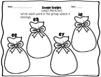 Sweet Treats FREEBIE! - Long Vowel E Word Family Sort