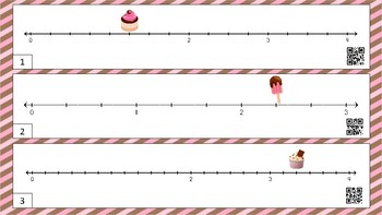 Sweet Treats!  Finding Fractions on a Number Line Task Cards with QR Codes