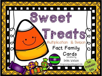 Sweet Treats Multiplication & Division Fact Family Cards: Two Sets
