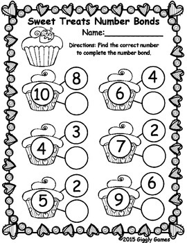 Sweet Treats Number Bonds Worksheet by Giggly Games | TpT
