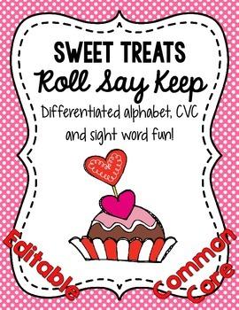 Sweet Treats Roll Say Keep: Editable Alphabet, CVC & Sight