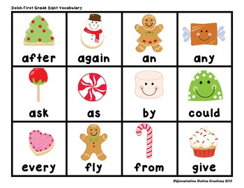 """Sweet Treats """"Roll, Say, Keep!"""" First Grade Dolch Sight Word Center + Extra"""
