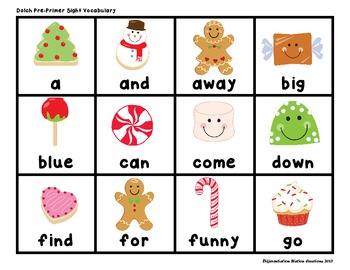"""Sweet Treats """"Roll, Say, Keep!"""" Pre-Primer Dolch Sight Word Center + Extra"""