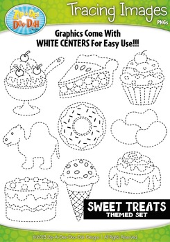 Sweet Treats Themed Tracing Image Clipart Set — Includes 2