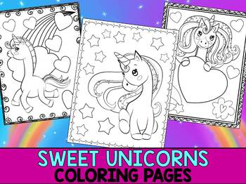 Sweet Unicorn Love Coloring Pages - The Crayon Crowd, Valentine's Day