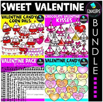 Sweet Valentine Clip Art Big Bundle {Educlips Clipart}