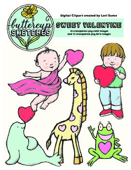 Valentine's Day Cute Clipart: 16 cute valentines in color and blw