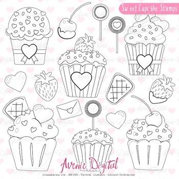 Sweet Valentines Cupcakes digital stamps Scrapbook printable, set coloring page