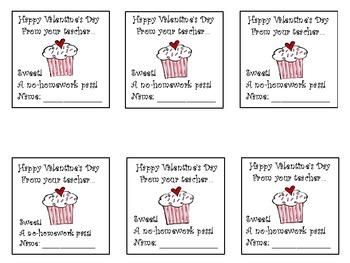 Sweet! Valentine's Day Homework Passes