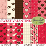 Sweet Valentines Digital Papers / Valentines Backgrounds /