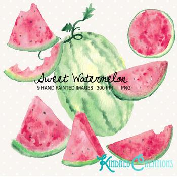 Sweet Watermelon clipart Set 300 dpi printable clipart