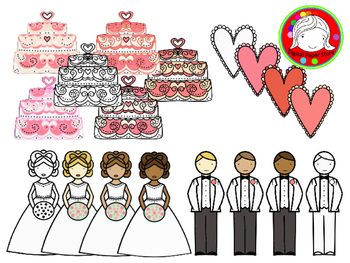 Sweet Wedding Clipart (Personal & Commercial Use)