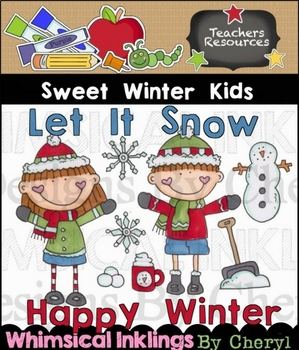 Sweet Winter Kids Clipart Collection