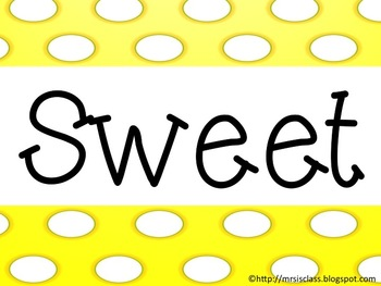 Sweet Words to Know Word Wall Pack