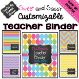 EDITABLE Teacher Binder 2017-2018 {Sweet and Sassy}