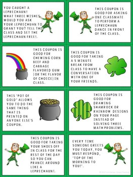 Sweet and Silly St. Patrick's Day Classroom Reward Cards