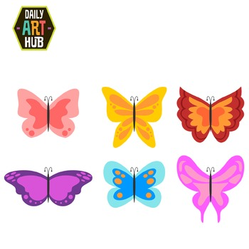 Sweet and Simple Butterflies Clip Art - Great for Art Class Projects!