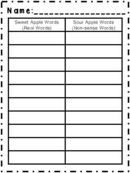 Sweet and Sour Apples { A Real and Nonsense Word Game/Center }