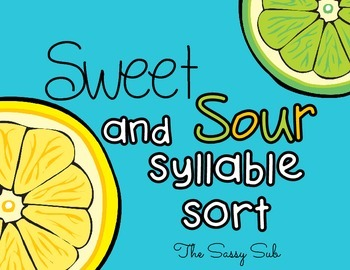 Sweet and Sour Syllable Sort: Center *Freebie*
