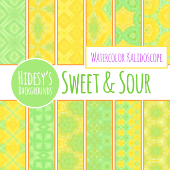 Sweet and Sour Watercolor Kalidoscope Background / Digital Paper / Clipart