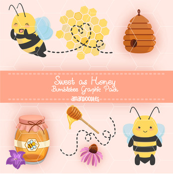 Sweet as Honey Cute Bumblebee Flower Clipart Graphic