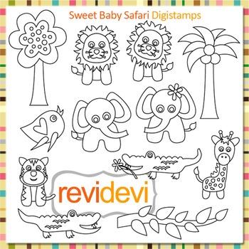 Line art Sweet baby safari clip art (digital stamps, coloring graphics) S065
