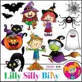 Sweet n Spooky. Clipart. BLACK AND WHITE & Color Bundle. {