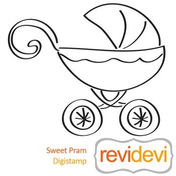 Sweet pram (digital stamp, coloring image) S044, baby carriage