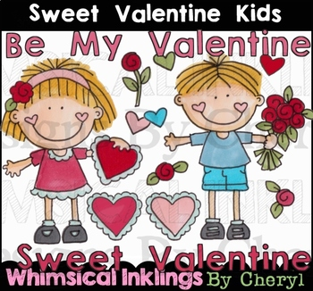 Sweet valentine Kids Clipart Collection