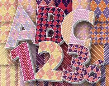 """Sweetheart Argyle Alphabet - 24 12 x 12"""" Digital Papers - 300 DPI PNGs and PDFs"""