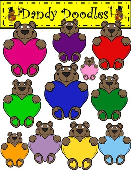 Sweetheart Bears Clip Art by Dandy Doodles