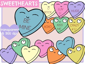 Sweetheart Candies - Digital Clip Art (With & Without Sayings)