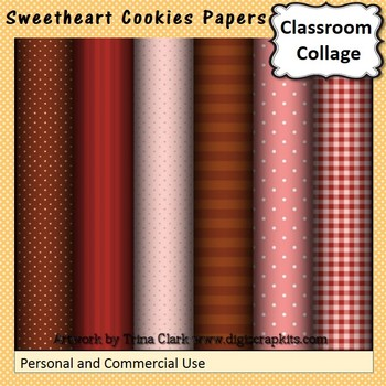 Sweetheart Cookies Digital Papers Set  personal & commercial use