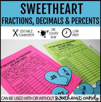 Sweetheart Fraction to Decimal to Percent Activites