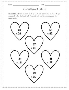 Sweetheart Math (2-Digit Addition & Subtraction)