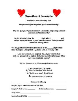 Sweetheart Serenade for Valentine's Day Music Fundraiser Information Sheet