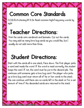 Sweetheart Sight Words! Primer List Pack