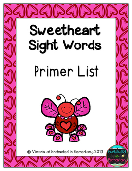 Sweetheart Sight Words! Primer List Pack