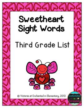Sweetheart Sight Words! Third Grade List Pack