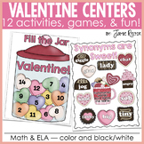 Valentine Math & ELA Centers, Games, & Fun   12 Activities Aligned to CCSS