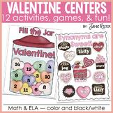 Valentine Math & ELA Centers, Games, & Fun   12 Activities