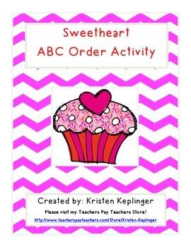 Sweetheart Valentine's ABC Order Activity