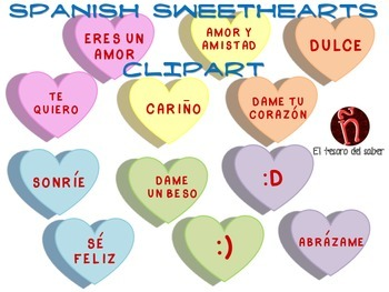 Hearts Clipart - Candy Hearts - Spanish Valentine's Messag